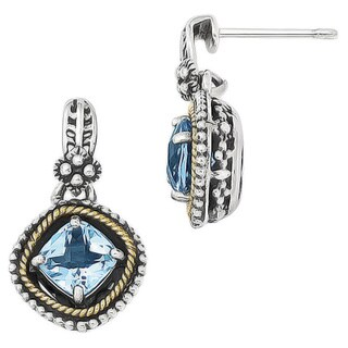 Versil 14k Gold and Sterling Silver Swiss Blue Topaz Earrings