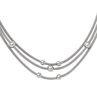 Versil Sterling Silver Polished Beaded Mesh Necklace