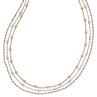 Versil Sterling Silver Rose and Yellow Goldplated Necklace with 2-inch Extension