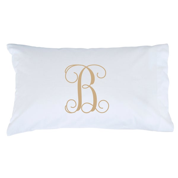 Beige Initial Personalized Pillowcase