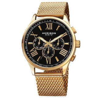 Akribos XXIV Men's Swiss Quartz Multifunction Dual Time Stainless Steel Bracelet Watch with FREE GIFT - Gold