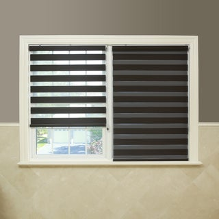 Aurora Home Premium Fabric Chocolate Sunshut Duo Blackout Window Shade
