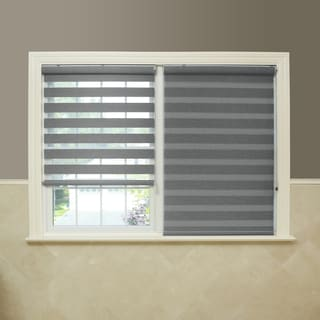 Aurora Home Premium Fabric Grey Sunshut Duo Blackout Window Shade