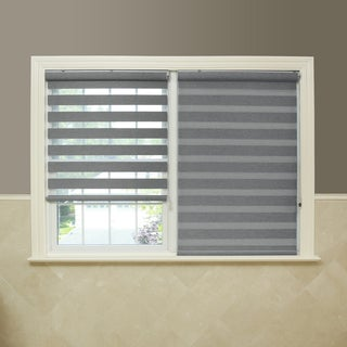 Aurora Home Premium Fabric Light Grey Sunshut Duo Blackout Window Shade