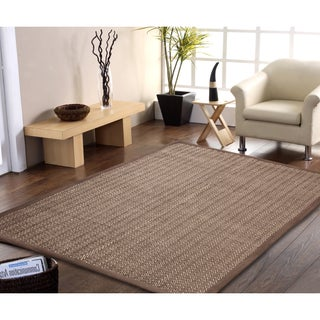 Handmade Natural Fiber Jute and Cotton Chevron Rug with Border 8' x 10' - 8' x 10'