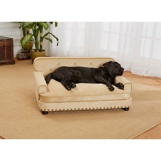 Enchanted Home Pet Caramel Ultra Plush Library Pet Sofa Bed