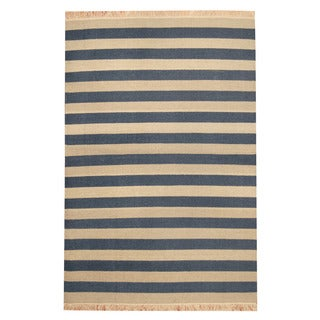 Herat Oriental Indo Hand-woven Striped Contemporary Wool Kilim (4'6 x 6'8)