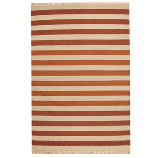 Herat Oriental Indo Hand-woven Striped Contemporary Wool Kilim (4'6 x 6'7)