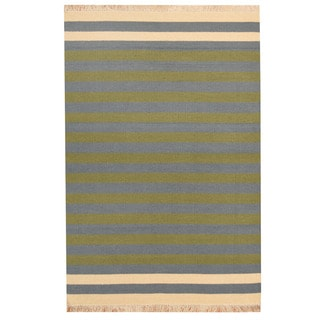 Herat Oriental Indo Hand-woven Striped Contemporary Wool Kilim (4'5 x 6'6)