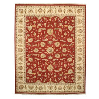 Hand-knotted Wool Red Traditional Oriental Agra Rug (12' x 15'3)