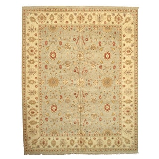 Hand-knotted Wool Gray Traditional Oriental Agra Rug (12'2 x 15'2)