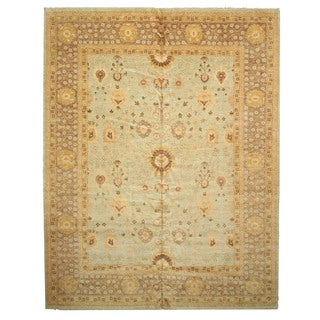 Hand-knotted Wool Green Traditional Oriental Peshawar Rug (11'11 x 15'3)