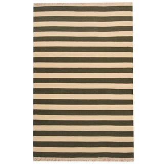 Herat Oriental Indo Hand-woven Striped Contemporary Wool Kilim (4'5 x 6'9)