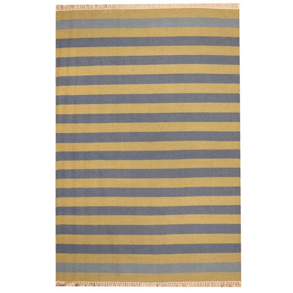 Herat Oriental Indo Hand-woven Striped Contemporary Wool Kilim - 4'5 x 6'4