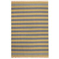 Herat Oriental Indo Hand-woven Striped Contemporary Wool Kilim (4'5 x 6'4) - 4'5 x 6'4