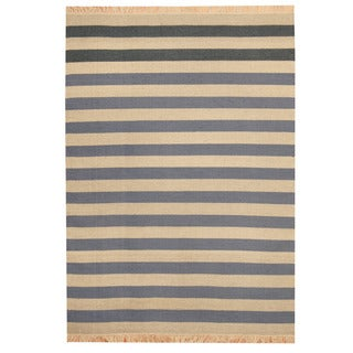 Herat Oriental Indo Hand-woven Striped Contemporary Wool Kilim (4'7 x 6'1)