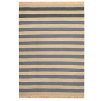Herat Oriental Indo Hand-woven Striped Contemporary Wool Kilim Rug - 4'7 x 6'1
