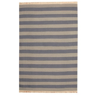 Herat Oriental Indo Hand-woven Striped Contemporary Wool Kilim (4'7 x 6'10)