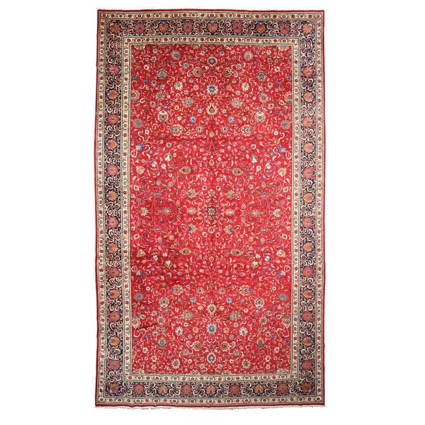 Hand Tufted Traditional Oriental Red Wool Rug With Non: Shop Hand-knotted Wool Red Traditional Oriental Tabriz Rug