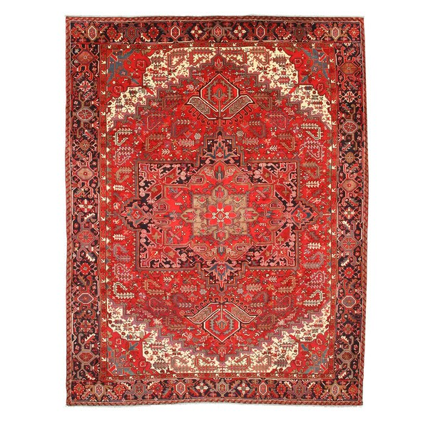 Hand-knotted Wool Rust Traditional Oriental Heriz Rug (10' x 13')