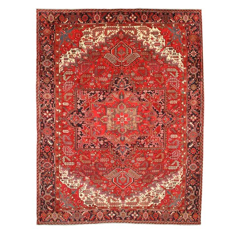 Hand-knotted Wool Rust Traditional Oriental Heriz Rug (10' x 13') - 10' x 13'