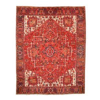 Hand-knotted Wool Rust Traditional Oriental Heriz Rug (10'2 x 12'10)