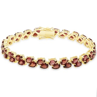 Dolce Giavonna Gold Over Sterling Silver Garnet Two Row Bracelet