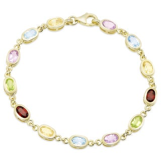 Dolce Giavonna Gold Over Sterling Silver Multi Gemstone Bracelet