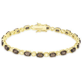 Dolce Giavonna Gold over Sterling Silver Gemstone Tennis Bracelet