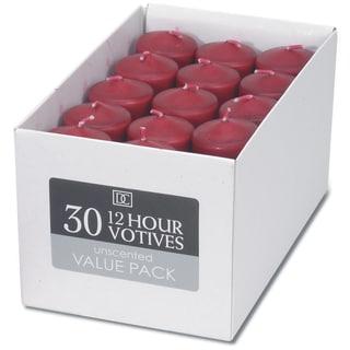 Unscented 12 Hour Votive Candles 1.3inX1.8in 30/PkgRed