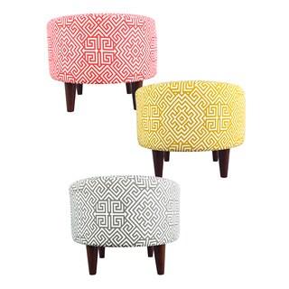 MJL Furniture Sophia Round Santorini Upholstered Ottoman