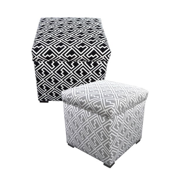 MJL Furniture Tami Shakes Square Ikat Storage Ottoman