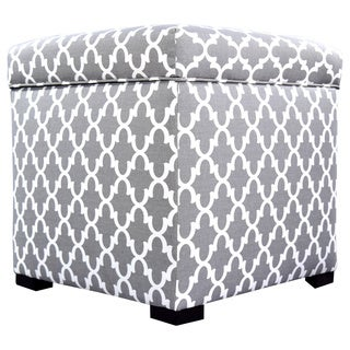 The Sole Secret Mini Square Fulton Upholstered Shoe Storage Ottoman