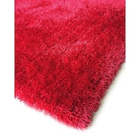 Handmade Red Shag Area Rug - 5' x 7'