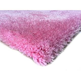 Handmade Pink Shag Area Rug (5' x 7')