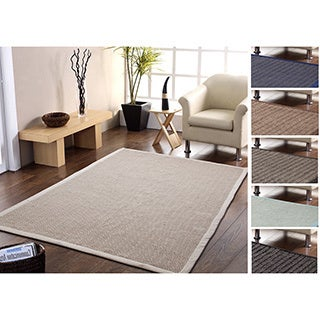 Eco Friendly-Handmade Natural Fiber Jute and Cotton Chevron Rug with Border (5' x 8')