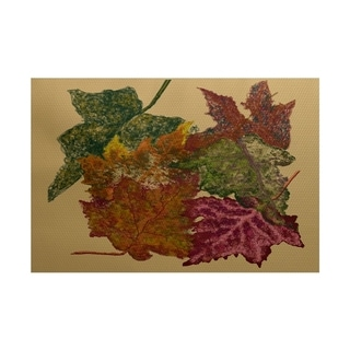 Autumn Leaves Flower Print Rug - 2 x 3 (Yellow)