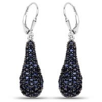 Olivia Leone Sterling Silver 3 7/8ct Blue Sapphire Earrings
