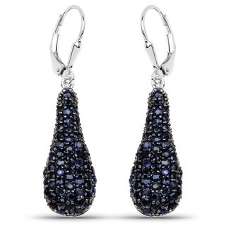 Olivia Leone Sterling Silver 3 7/8ct Blue Sapphire Earrings