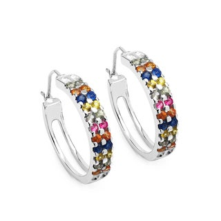 Olivia Leone Sterling Silver 2 1/5ct Multi-colored Sapphire Earrings