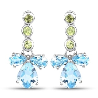 Malaika Sterling Silver 5 1/2ct Blue Topaz and Peridot Earrings