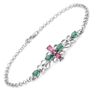 Olivia Leone Sterling Silver 1 1/5ct Ruby and Emerald Bracelet