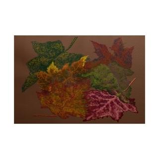 Autumn Leaves Flower Print Rug (3' x 5')