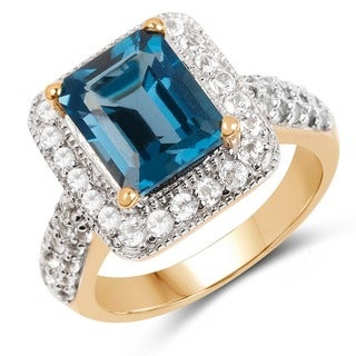 Malaika 14k Yellow Goldplated Sterling Silver 5 1/6ct London Blue Topaz and White Topaz Ring