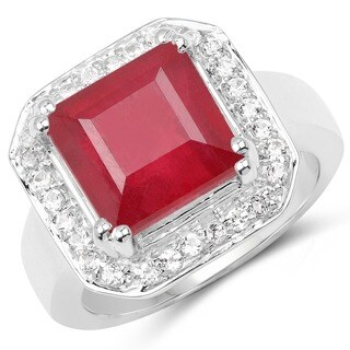 Olivia Leone Sterling Silver 6 2/5ct Ruby and White Topaz Ring