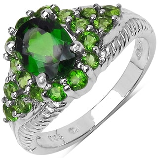 Olivia Leone Sterling Silver 2 5/8ct Chrome Diopside Ring