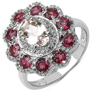 Olivia Leone Sterling Silver 2ct Morganite Rhodolite and White Topaz Ring