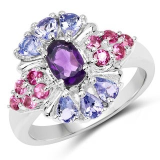Olivia Leone Sterling Silver 1 4/5ct Amethyst Tanzanite and Rhodolite Ring