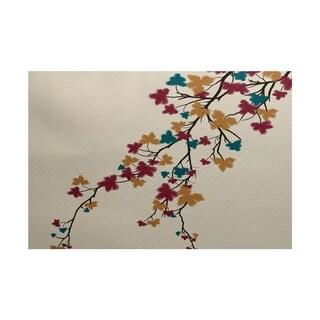 Maple Hues Flower Print Rug (4' x 6')