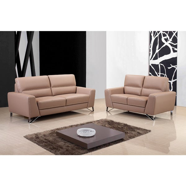 Aria Leather Sofa Set - Free Shipping Today - Overstock.com - 17625260